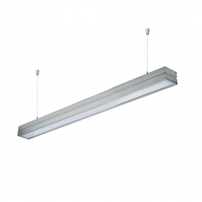 Modern Office Light Aluminum Led Linear Fixture in Silver 40W High Bay Trunking Pendant Lighting with Adjustable Cord