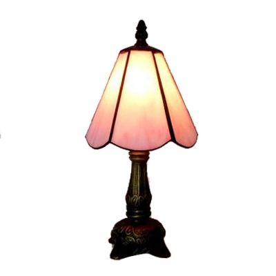 Pink/White Blossom Shape Tiffany Colored Glass Table Lamp in Bronze Finish