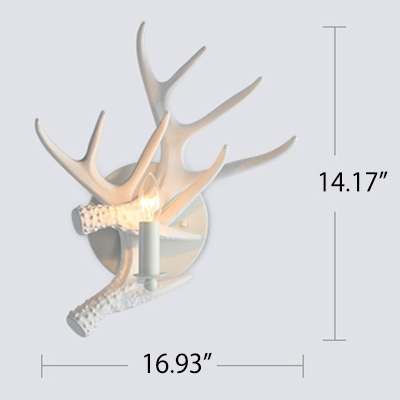 Plastic Antler Wall Mount Light Rustic Style Single Head Wall Light Sconce in White for Corridor