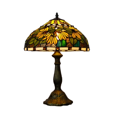 Tiffany Style Colorful Beads Accent Table Lamp Featuring Flower Patterned Glass Shade