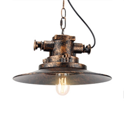 Distressed Bronze Open Bulb Restaurant Cafe Pendant Lighting in Heavy Industrial Style