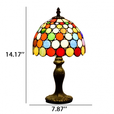 ... Dome Shade Multi Colored Small Circle Pattern Tiffany Style Stained  Glass Table Lamp ...