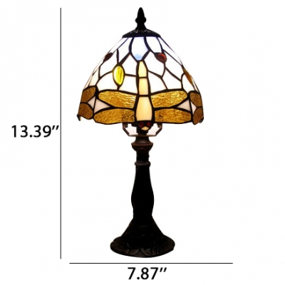 Gold Dragonfly Motif Dome Shade Table Lamp with Colorful Beads in Tiffany Style