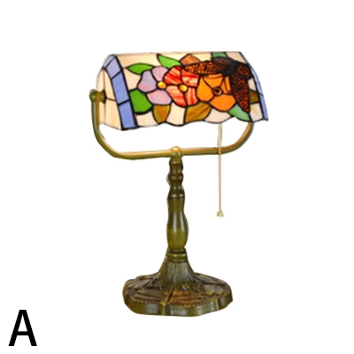 Stained Glass Shade Tiffany Style Office Bankers Lamp with Bronze Base 4 Designs for Choice