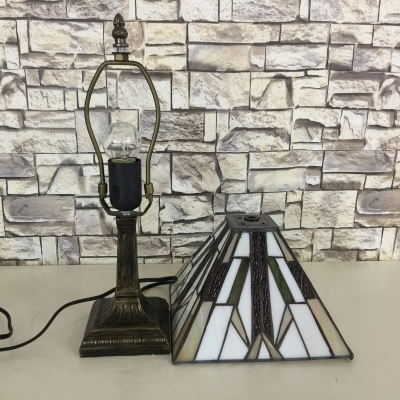 Craftsman Style Square Table Lamp Featuring Geometrical Motif Tiffany Glass Shade