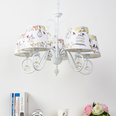 White Finish Tapered Chandelier with Crystal Decoration Metallic 5 Lights Hanging Lamp for Children Bedroom