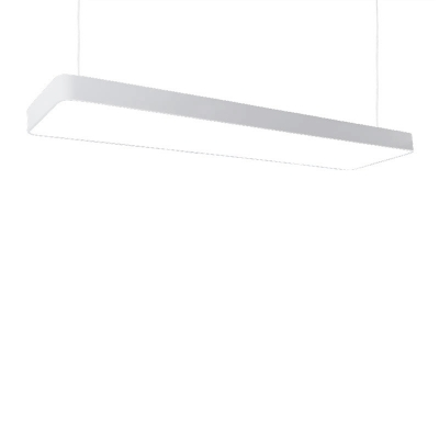 Modern Simple Style LED Large Rectangle Pendant Light Linear Led Chandelier in Silver, 48