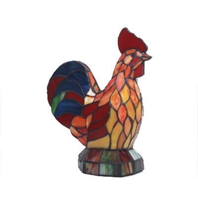 Colorful Cock Shape Stained Glass Shade Night light Table Light for Bedroom