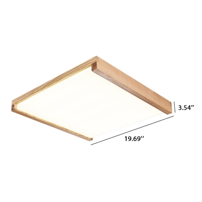 Modern Indoor Lighting Led Square Ceiling Mount Lights Wooden Frame Acrylic Lampshade 16/24/48W Neutral Light Post Modern Flush Ceiling Lamp