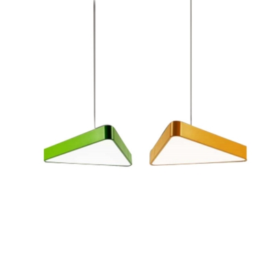 Modern Lighting Metal Led Pendant Light in Green/Yellow Triangle Shaped LED Chandelier with Adjustable Cord 15.75