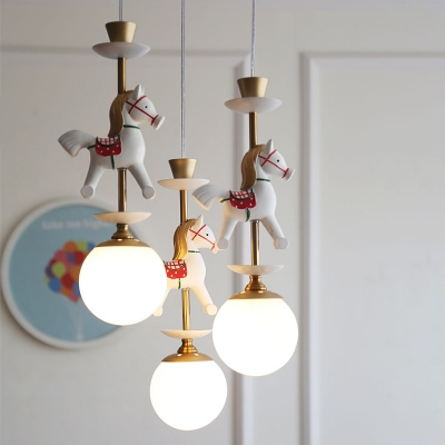 Opal Glass Global Shade Suspension Light with Cartoon Horse/King Kids 1/3 Lights Pendant Lamp in Brass