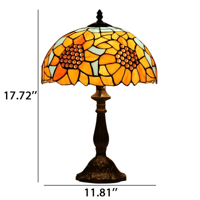Sunflower Theme Tiffany Table Lamp with Stained Glass Dome Shade in 2 Designs