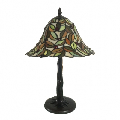 Tree Shape Tiffany Stained Glass Table Lamp with Leaf Patterned Flared Shade