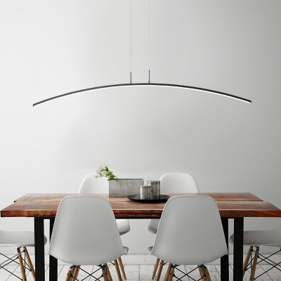 Art Deco Modern Black Hanging Light Led Ultra Thin Linear Pendants In Arched Shaped 24w Energy