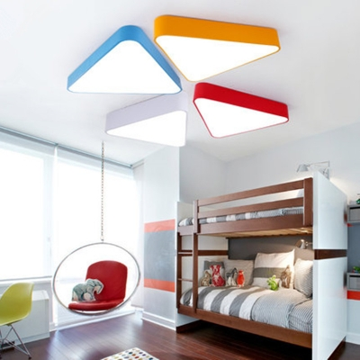 Simplicity Triangle LED Flush Light Game Room Acrylic Single Head Ceiling Fixture in Warm/White