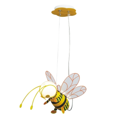 Acrylic Bee Suspended Lamp Nursing Room Kindergarten Single Light Pendant Light in Yellow