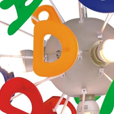 Sputnik 4 Lights Lighting Fixture Letters&Numbers Multi Color Acrylic Pendant Light for Kids Children