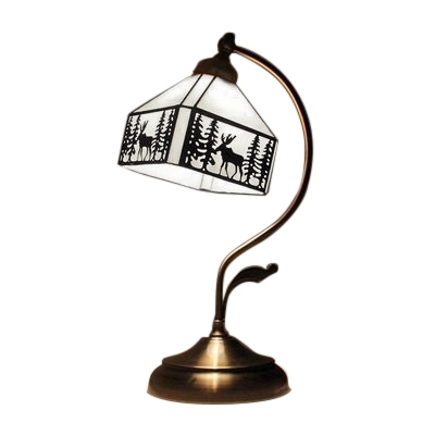 Tiffany Glass Lodge Style Square Table Lamp with Brass Base Cured Arm and Leaf