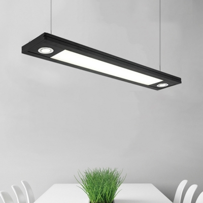 Contemporary Black Finish Office Studio Workbench Led Lights Large Pendant Light L48