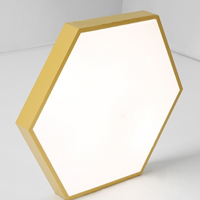 Multicolors Metal LED Ceiling Light Fixture Hexagon Shaped Led Surface Mount Lighting 18/24/40W 3000-3300/6000-6500K Decorative Hexagonal LED Flush Light in Green/Yellow/Blue