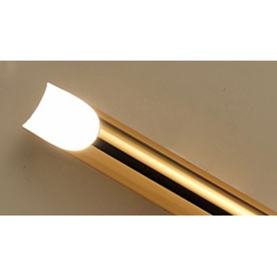 Post Modern Polished Brass Led Tube Wall Light 18.11 Inch High Metal Pipe Wall Sconce for Bedside Living Room Gallery Porch Corridor