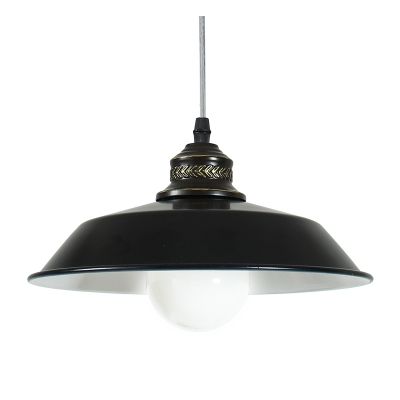 Image of 10.24/14.17 Inch Wide Black Finish Hanging Light with White Inner Finish and Pendant Cord