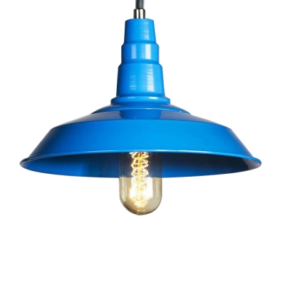 "Image of ""10.23"""" Wide Industrial Blue/Pink Finish Metal Barn Shade 1 Light Pendant for Indoor Kitchen Warehouse"""
