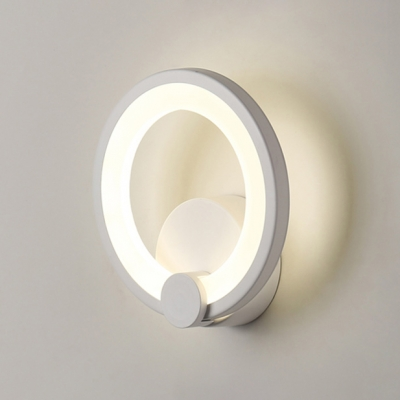 Matte White 1Lt LED Ambient Wall Sconce 12W/16W Warm White Light Round 7.49