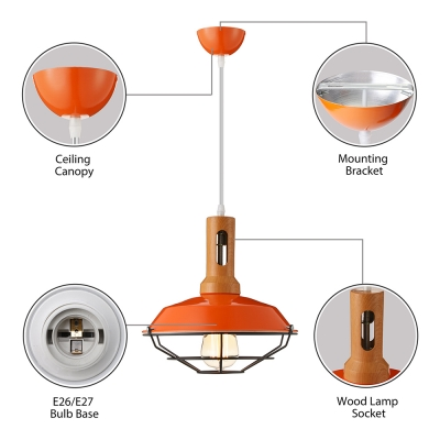 Industrial 1 Light Cage LED Pendant Indoor Lighting with Wood Accent