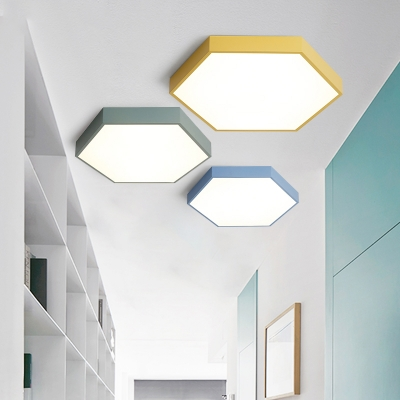 Multicolors Metal Led Ceiling Light Fixture Hexagon Shaped
