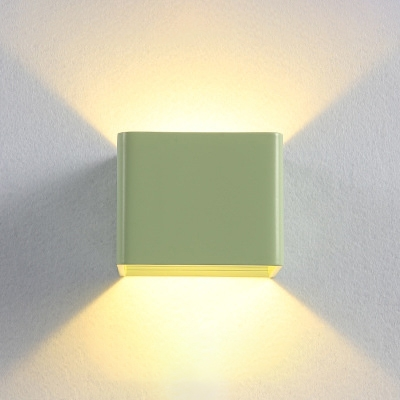 Macaroon Style Orange/Yellow/Green Square Led Wall Sconce Modern 3.93 Inch Wide Led Direction Up/Downlight Cubic Wall Light for Hallway Corridor Kitchen Cabinet Stairways
