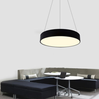 Modern Commercial Led Lighting Metal Acrylic LED Round Chandelier in Black/White 30W/36W/50W 3 Sizes for Options Suitable for Office Gallery Hallway Bedroom