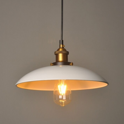 Satin Brass Lamp Socket Bare Bulb Ceiling Light Fixture with Shallow Round Shade in White, HL482993