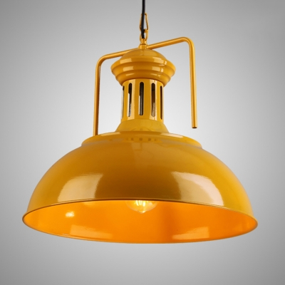 Vintage Pendant Light Red/Yellow Dome Metal Shade