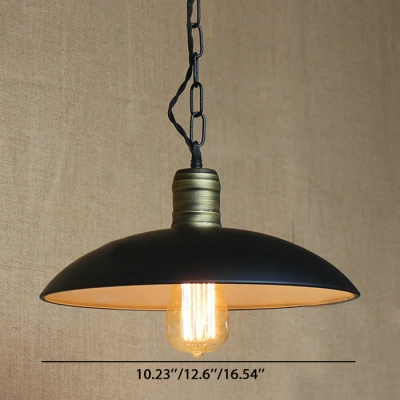 Vintage Simple I Light Hanging Light with Bowl Shade in Black Finish