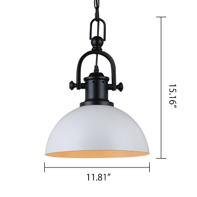 Industrial Hanging Pendant Light Handle Arm with Black/White Bowl Shade