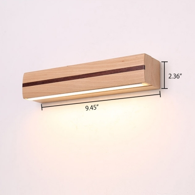 Modern Beech Wood Swivel LED Wall Lighting 9.45