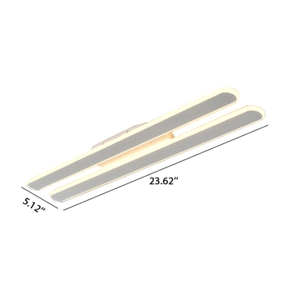 20/36/56W Warm White Light Modern Decorative Led Linear Fixture Acrylic Double Linear Flush Light Can be Install on Ceiling and Wall Suitable for Hallway Cloakroom Bathroom Kitchen