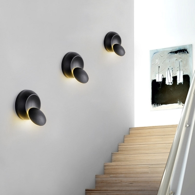 Black/White Eclipse Shaped Led Wall Light 5W 5.51