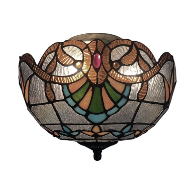 Tiffany Multicolored Glass Flush Mount Ceiling Light with Gorgeous Flower Pattern Lampshade in Baroque Style