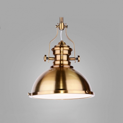 Vintage Polished Brass/Gold Finish Dome Shade Pendant Light with Platen Glass Diffuser