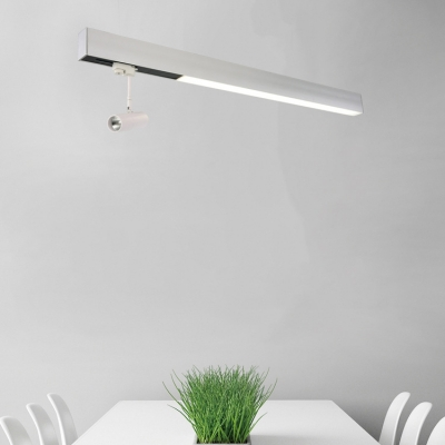 18W 48in Long Office Commercial Led Lighting 18W White Aluminum Linear Flush Mount Lighting with Spotlight Suitable for Office Commercial Business Hall