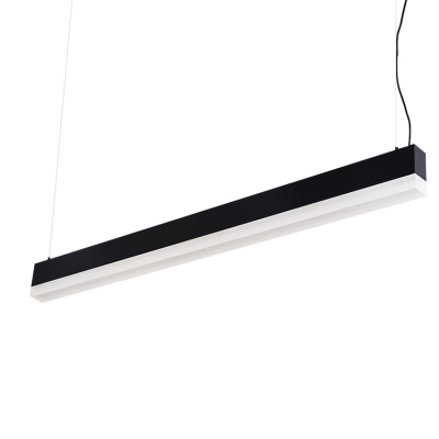 Contemporary Simple Lighting Black/White Super Slim Linear Led Pendant Acrylic Cord Adjustable 24W 3200K Decorative Led Offfce Meeting Room Dining Room Kitchen Island Lighting