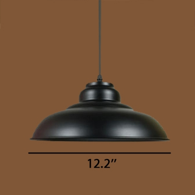 Industrial Style Polished Black Finish Single Light Pendant Lamp in 12.2 Inch Wide Metal Dome Shade