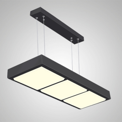 Modern Seamless Connection Led 3/4/5 Lights Rectangle Pendant Chandelier in Black/White 24/36/40W Metal Led Large Linear Lights Suitable for Office Meeting Room Workshop Gallery Dining Room