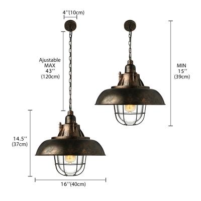 Nautical Rust Iron Metal LED Pendant Light