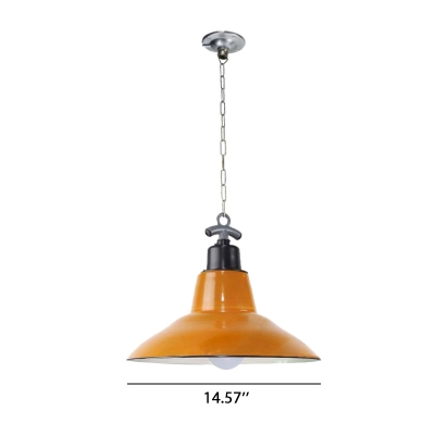 Orange Finished 14'' Wide Single Light LED Pendant for Restaurant Home Lighting