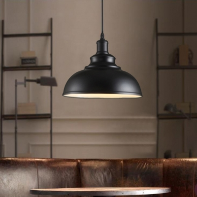 Vintage Black Dome Shade Single Light Pendant Light with White Inner Finish in Industrial Style for Warehouse Bar Garage