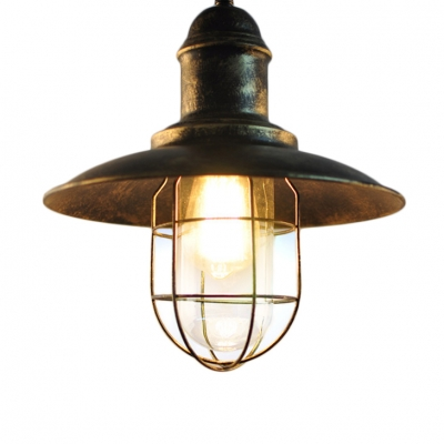 Vintage Industrial Style Dark Rust Finish Wire Caged Pendant Light with Clear Glass Inner Shade