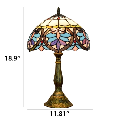 Baroque Style Table Lamp with Tiffany Dome Glass Shade 3 Sizes for Option